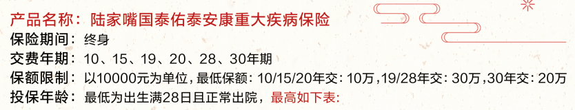 陆家嘴国泰佑泰安康重疾险保险(新规重疾险产品)
